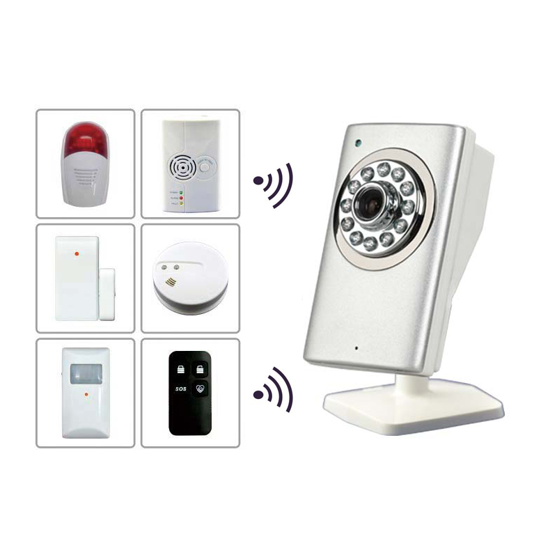 Wireless 720P HD Indoor Cloud Alarm Camera with Motion Detection & Max 15 Wireless alarm Sensor with TF & Cloud Recording