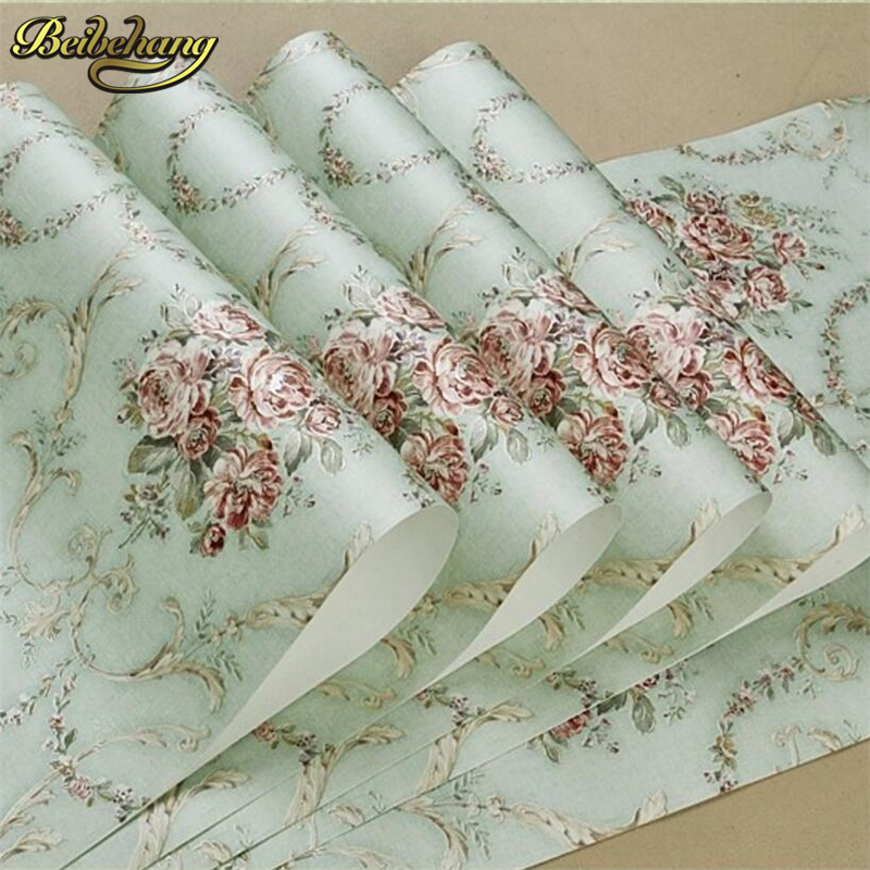 beibehang papel de parede European high-grade non-woven wallpaper backdrop living room bedroom garden 3D relief green wall paper