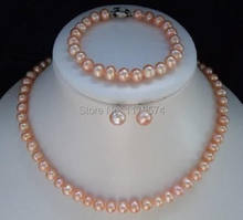 New Girl Beautiful! 8-9mm Pink Akoya Pearl Necklace Bracelet Earring 1 Sets AAA H005(China)