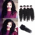 8A Grade Brazilian Virgin Hair kinky curly With Closure Deep Wave Human Hair 3bundle With Closure Brazilian Hair With Closure