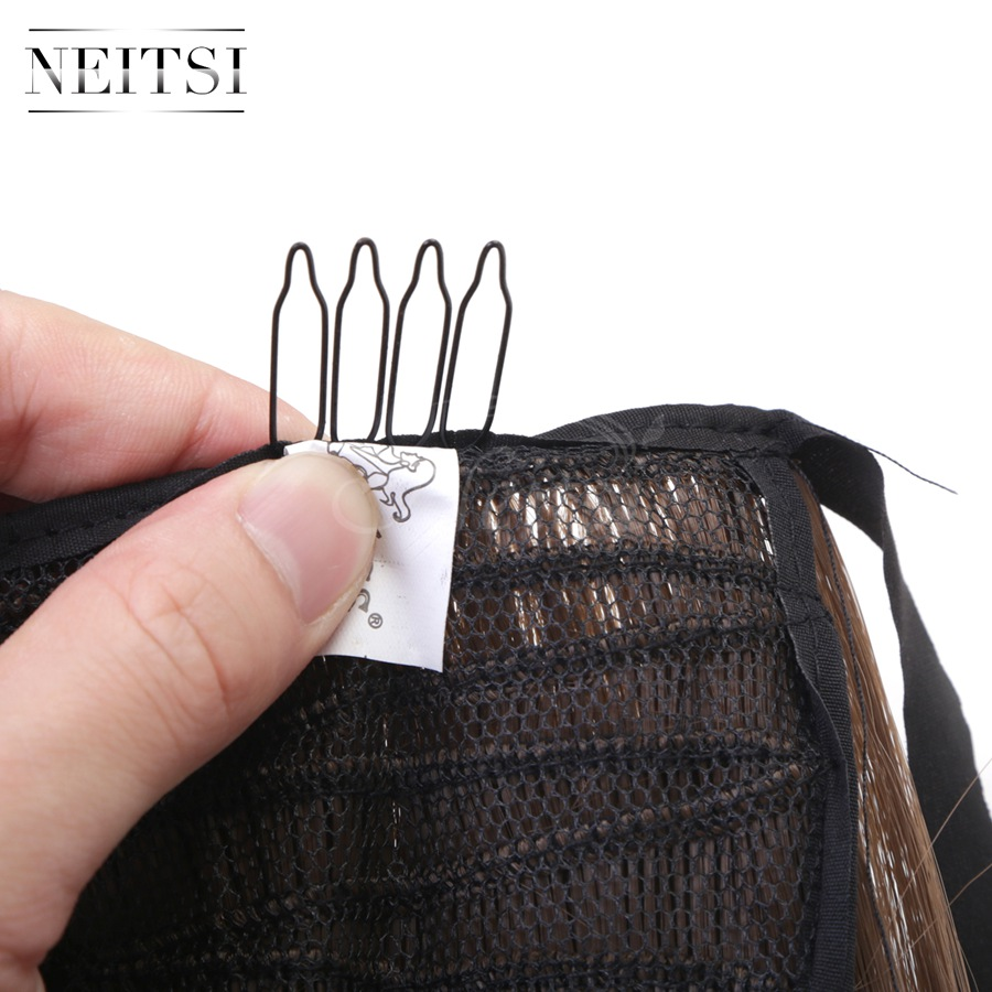 Купить с кэшбэком Neitsi Straight Long Clip In Hair Tail False Hair Ponytail Hairpiece With Hairpins Synthetic Hair 10#