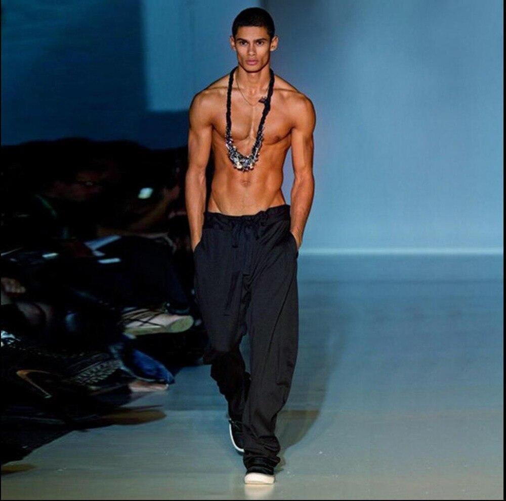 M-4XL New Men's summer ice silk drape pants loose plus size harem pants feet trousers wide legs pants Breathable singer costumes plus size striped harem pants