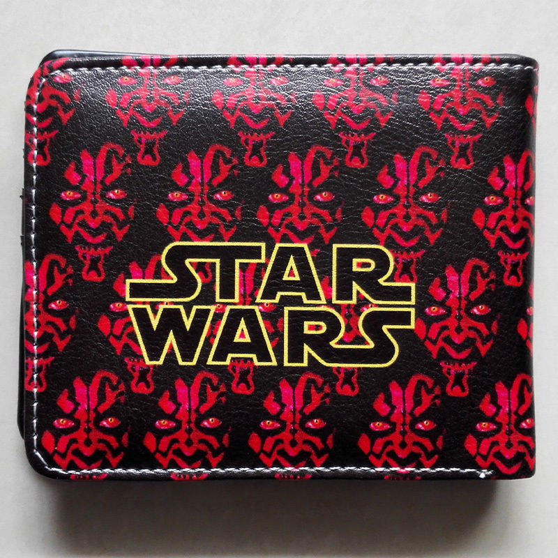 2018 Movie Star Wars Darth Maul Logo wallets Purse Red Leather New Hot W180 star wars purse high quality leather