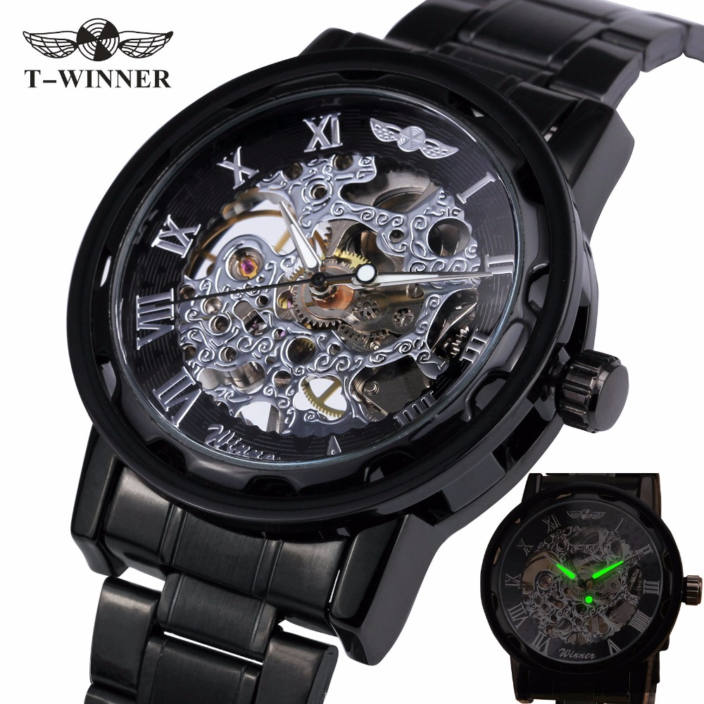 2017 WINNER Mechanical Watches For Mens Hand wind Leather Watches Roman Number Skeleton Wristwatches Luminous Hands