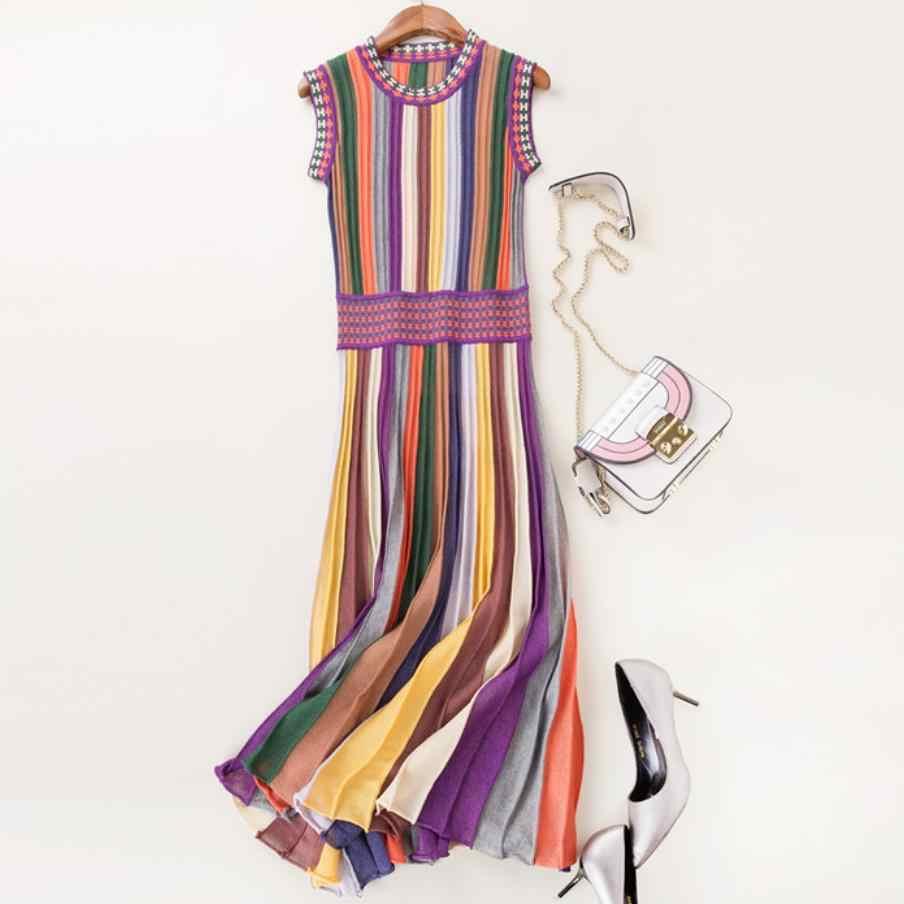2020 קיץ אופנה נשים סרוג שמלת קשת פסים o-צוואר שרוולים slim גבוהה מותן קפלים שמלה