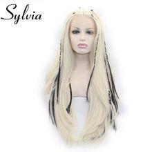 Sylvia 613# Colot Натуральные Прямые парики блонд синтетические парики на кружеве с тесьмой термостойкие волокна волос для женщин