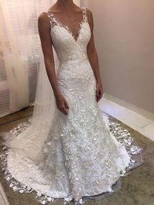 Image 1 - 2020 새로운 우아한 Appliqued 레이스 웨딩 드레스 인어 v 넥 지퍼 뒤로 v 넥 저렴한 웨딩 드레스 Vestido De Novia