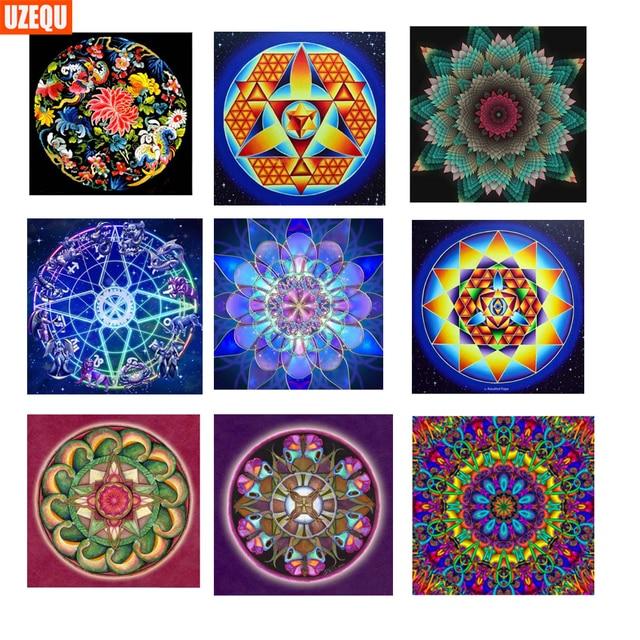 ba8e522e45 UzeQu 5D DIY Diamond Painting Cross Stitch Mandala Flower Full Diamond  Embroidery Diamond Mosaic Pattern Rhinestones Painting