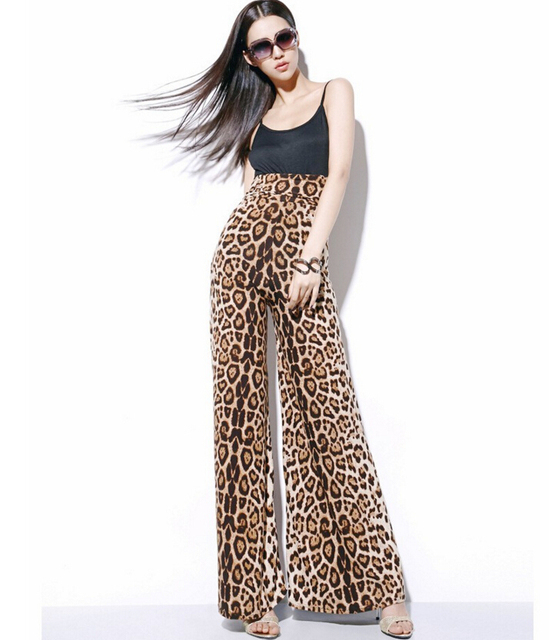 Aliexpress.com : Buy Leopard Print Wide Leg Skirt Pants Women High ...