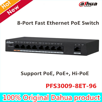 Original Dahua 8 Port Fast Ethernet PoE Switch Support PoE, PoE+, Hi-PoE 10/100 DC48~57V Power Export version without logo