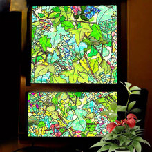 Colors grapes stained glass Window Cover Film Home Decorative No-Glue 3D Static plant Glass door Sticker 40/45/50/60/70/80*100cm