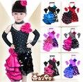 Envío Libre Negro Con Lentejuelas Rojo Floral Desigual Vestido de Las Niñas Latinas Mujeres Más El Tamaño de Vestido Para El Baile de salón de Baile Latino