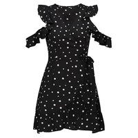 Young17 Spring Casual Black Patchwork Short Sleeve Falbala Hollow Fashion Bowknot Beauty Sexy Elegant New Women
