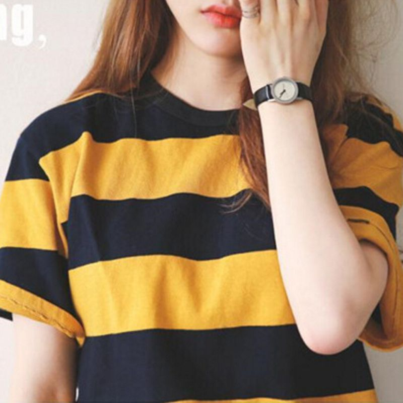 Women's Casual Loose And Female Striped Yellow Shirt T-shirt Sleeve Collar Half Clothing Ladies Black