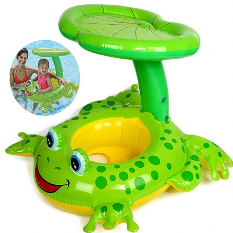 2016 Summer Baby Inflatable Seat with Sun Shade Swim Ring Baby Toys in Swimming Pool Floating Swimming Pool Accessories