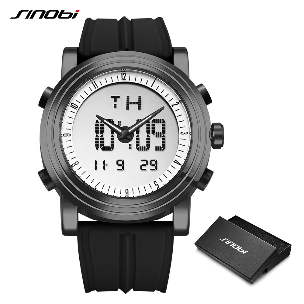 SINOBI Digital Sports Watch Men Chronograph Men's Wrist Watches Waterproof Black Watchband Male Military Geneva Quartz Clock