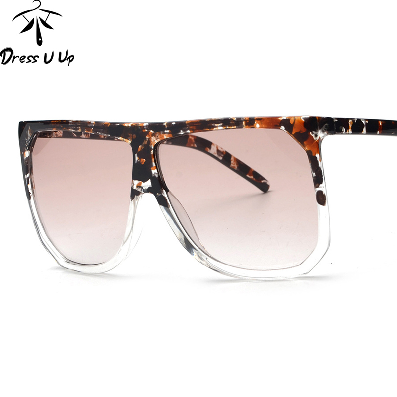 DRESSUUP Luxury Oversized Sunglasses Women Brand Designer 2017 Vintage Square Flat Floral Sun Glasses For Woman Oculos De Sol