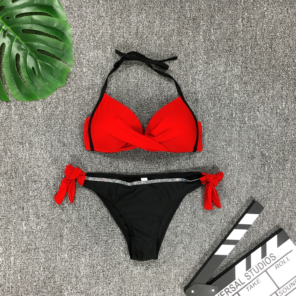 HTB1g0uLaIrrK1RjSspaq6AREXXa9 Womens Push Up Two Piece Bikini Swimsuits Sexy 2019 Summer Hot Bathing Suit Triangle Side Knot Thong Swimwear Padded Adjustable