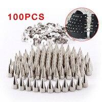 100 unids Bullet Stud Screwback de Spike Correa Del Bolso Cuero Ropa Remache de Plata para Bolsa de Tela Decoración