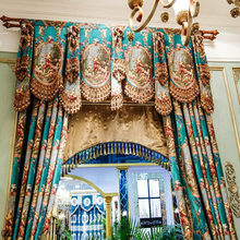 valance curtain for bedroom window blackout Oil painting drapery luxury curtain for Living-room room decor kitchen Green drapes(China)