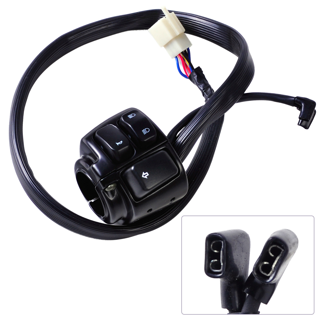 DWCX Motorcycle 1 Handlebar Horn Hi/Lo Beam Left Turn Signals Switch Wire Harness for Harley Davidson Softail Sportster 1200