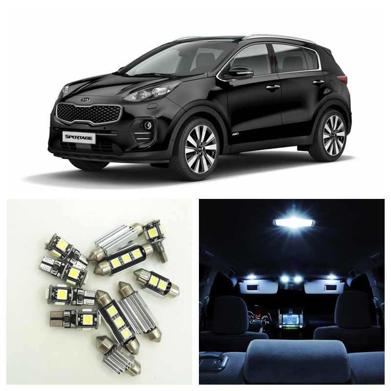 9pcs White Car Lamp LED Light Bulbs Interior Package Kit For 2011-2016 Kia Sportage Map Dome Trunk License Plate Light наушники беспроводные с микрофоном sony mdr zx330bt black
