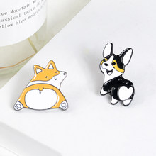 Heart Butt Animal Pins Cute Cartoon Dog cat Brooches Corgi lover enamel Pins Lovely Lapel Pins Badges Gift for dog mom Jewelry(China)