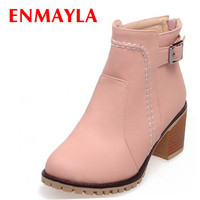ENMAYLA Women Boots Size 34 43 Shoes Small Round Toe High Heels Platform Zipper Ankle Boots Winter Snow Sexy Motorcycle Boots