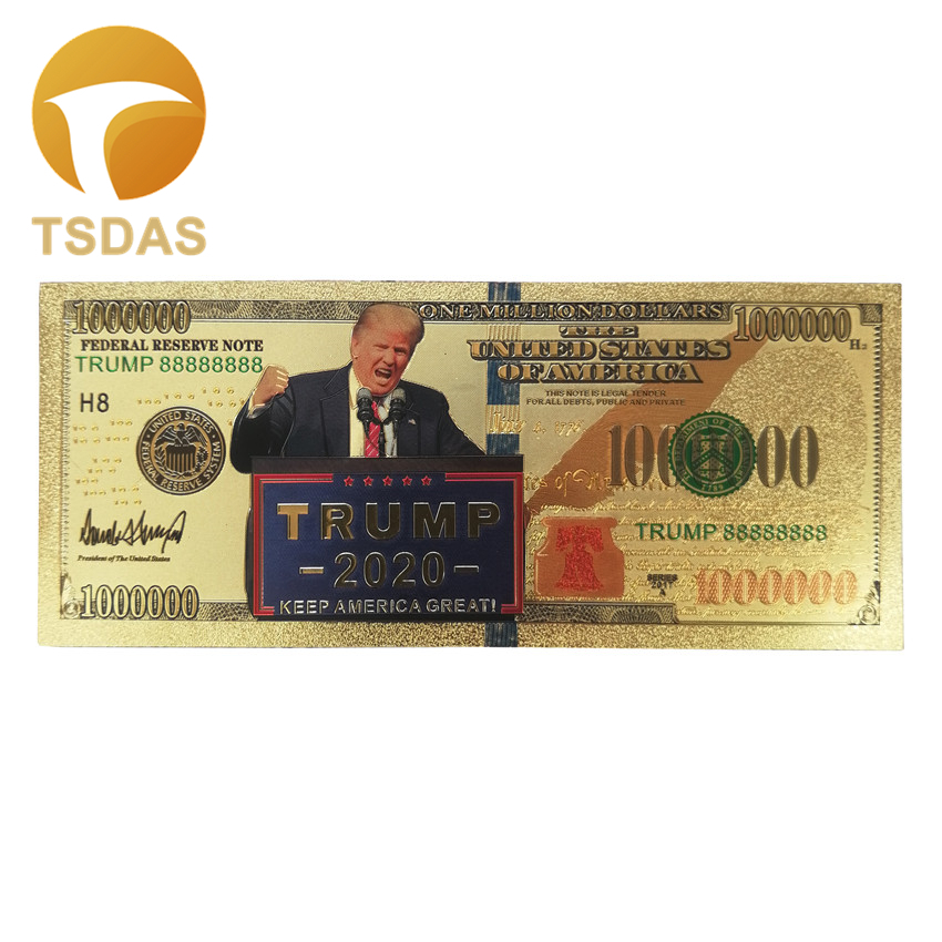 1pc US Donald Trump 2020 President Banknote Non-currency $1 Million Dollars Gold Banknote