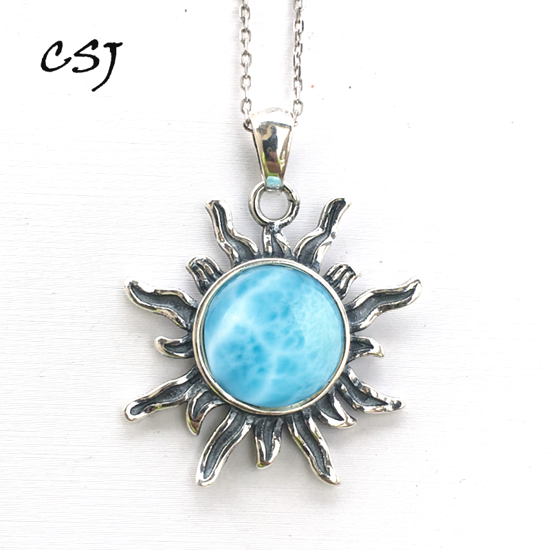 CSJ Real Natural Blue Larimar Pendant Sterling Silver Round 10mm Women Lady Necklace Wedding Engagement Party Gift Fine Jewelry