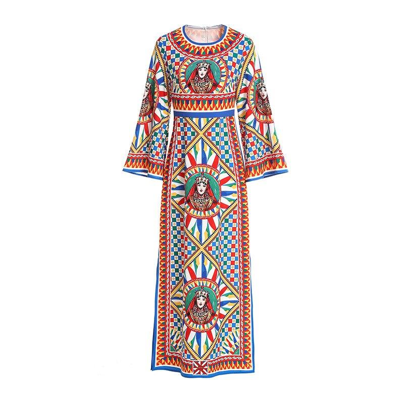 2019 Nouvelles Femmes de Robe Célèbre famille style Col Rond à manches longues Haute Taille Mince Plage Rouge Longues pour Femmes robes Printemps T É