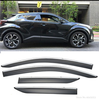 Car Styling For Toyota C HR CHR 2017 2018 ABS Plastic Window Visors Awnings Rain Sun Deflector Guard Vent Covers Protector 4Pcs