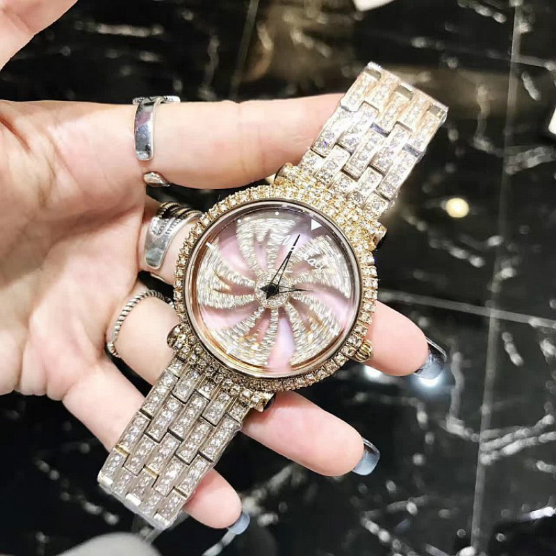 цены New Rotates Windmill Design Luxury Women Dress Watch Brand Crystal Rose Gold Silver Waterproof Quartz Watch montre femme