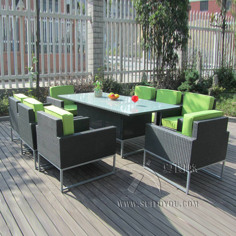 9 pcs Synthetic Rattan Garden Dining Sets , Cafe Balcony Chair Set transport by sea cafe by the sea