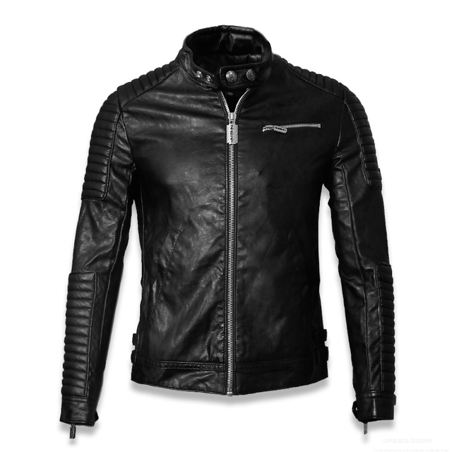 2016 Male Leather Jacket European And American Fashion biker jacket leather vintage Punk Zipper winter Motorcycle jackets M-XXXL