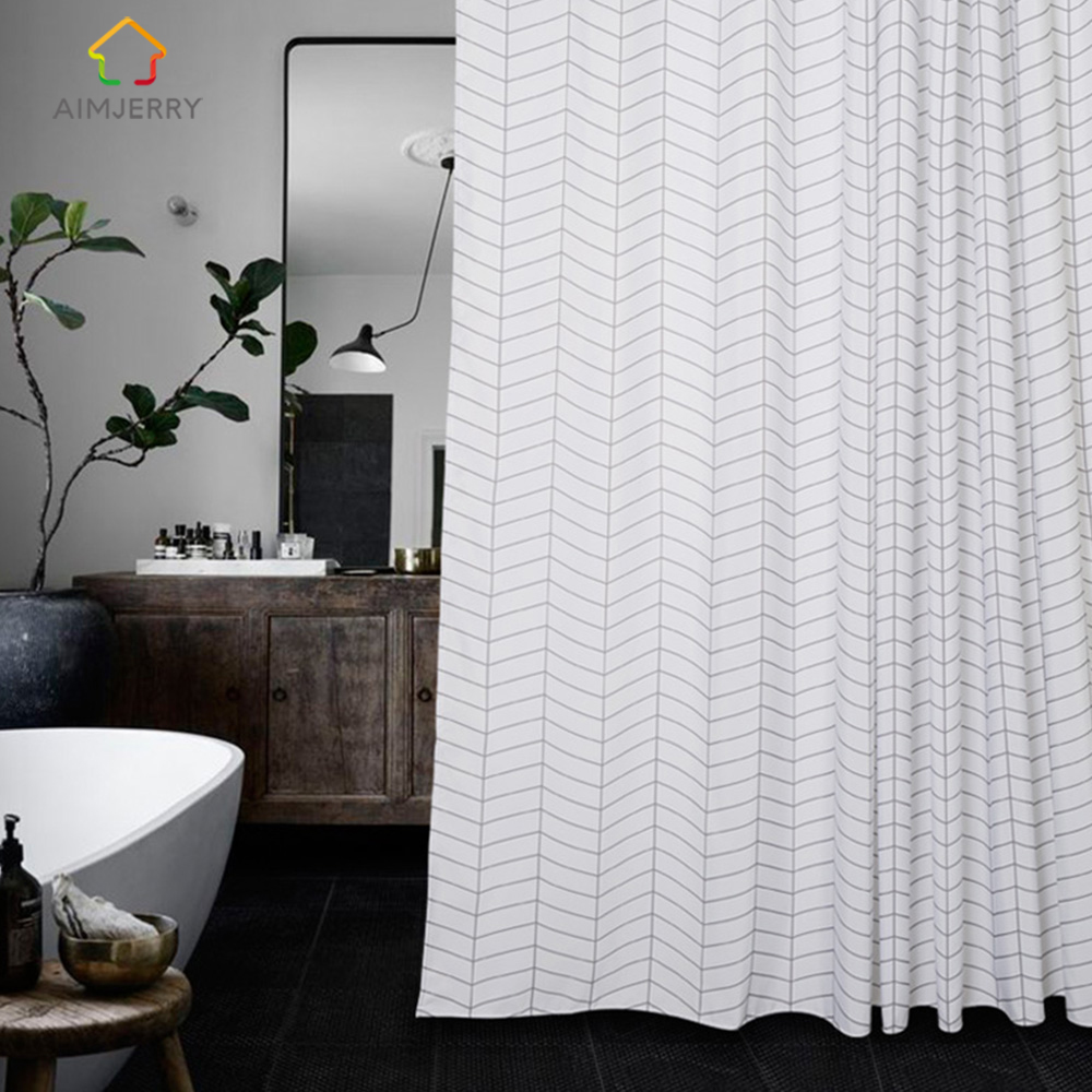 Aimjerry בד לבן ושחור אמבטיה אמבטיה וילון מקלחת בד עם 12 הוקס 71Wx71H Waterproof and Mildewproof 2018