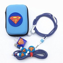Cartoon USB Cable Earphone Protector Set With Box Winder Stickers Spiral Cord For iphone 5s 6 6s 7plus