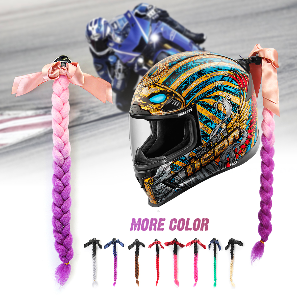 Punk Style Motorcycle Gradient Ramp Helmet Braids Twist Braid Horn Motocross Motorbike Full Face Off Road Moto Decoration