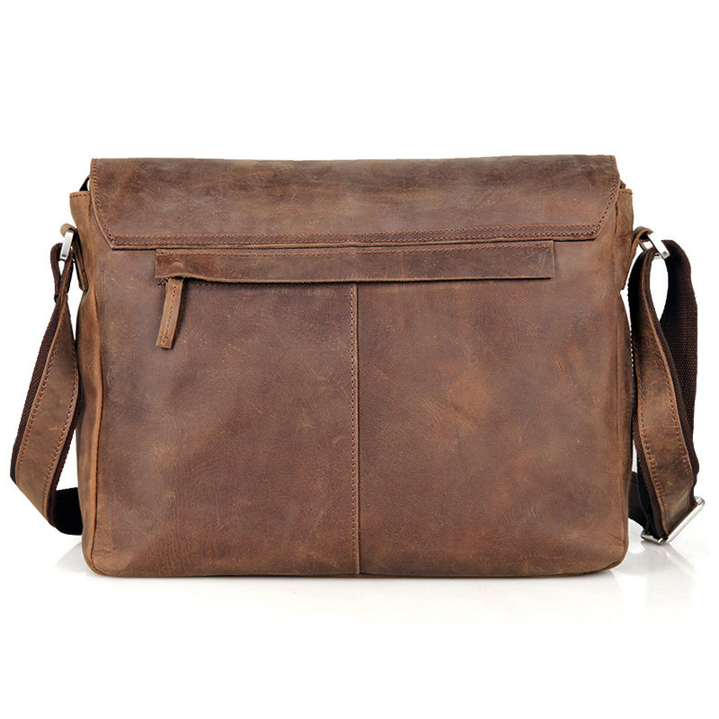 Vintage Crazy horse Genuine Leather Shoulder Bag Men Crossbody Bag Leather  Messenger Bag Leisure bag