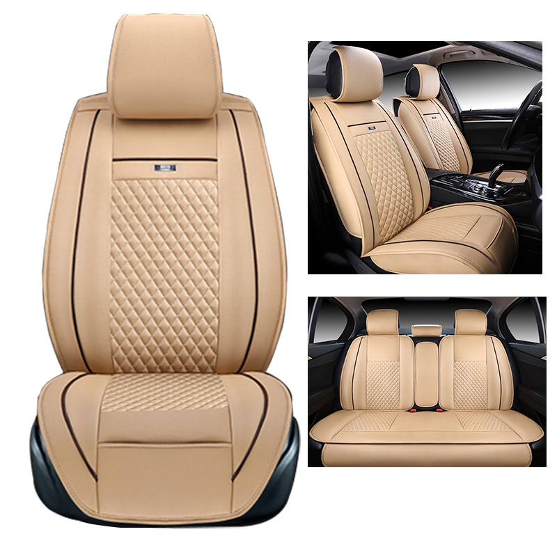 Universal car seat cover set embroidery logo car seat cover for jeep wrangler patriot compass cherokee seat cover pu leather