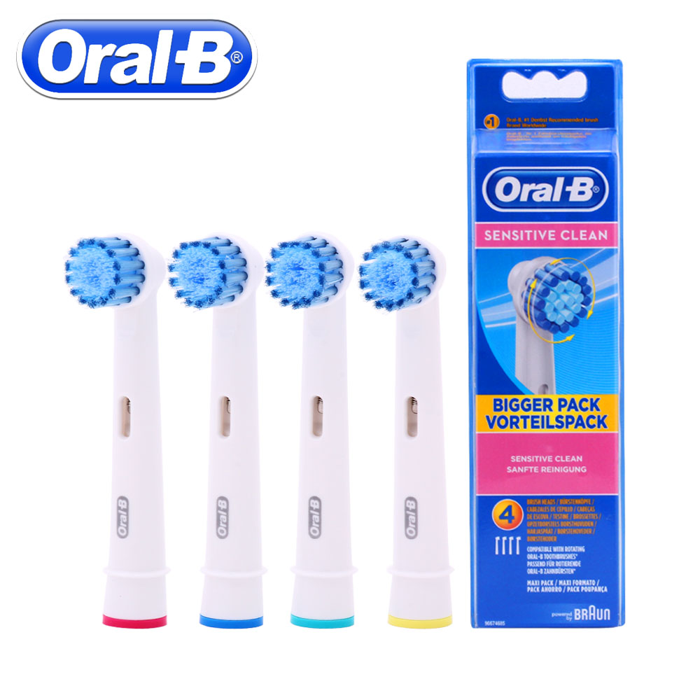4pc/Pack Oral B Braun Sensitive Replacement Electric Toothbrush Heads For Braun Oral B Vitality Electric Toothbrush Head 2pcs philips sonicare replacement e series electric toothbrush head with cap