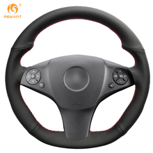 Black Artificial Leather Car Steering Wheel Cover for Mercedes Benz SLR-Class 2009 SL-CLass AMG 63 65 2009-2012 SLK-Class AMG 55