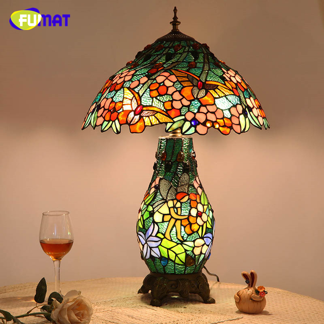 FUMAT European Creative LED Living Room Table Lamp Tiffany Vintage Pastoral Stained Glass Warm Art Table Lamp Glass Shade Lights