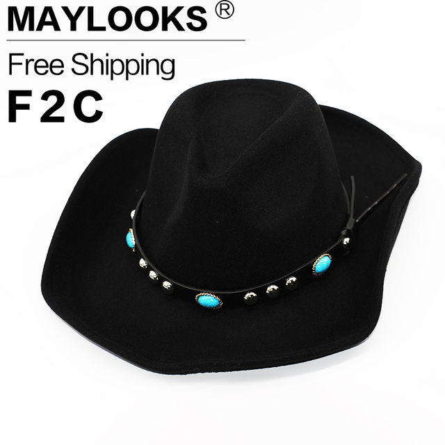 5ce74be95e9 2018 Top Fashion Sale 100% Wool Vintage Western Cowboy Hat With Wide Brim  Punk Belt Cowgirl Jazz Cap With Toca Sombrero Hn10
