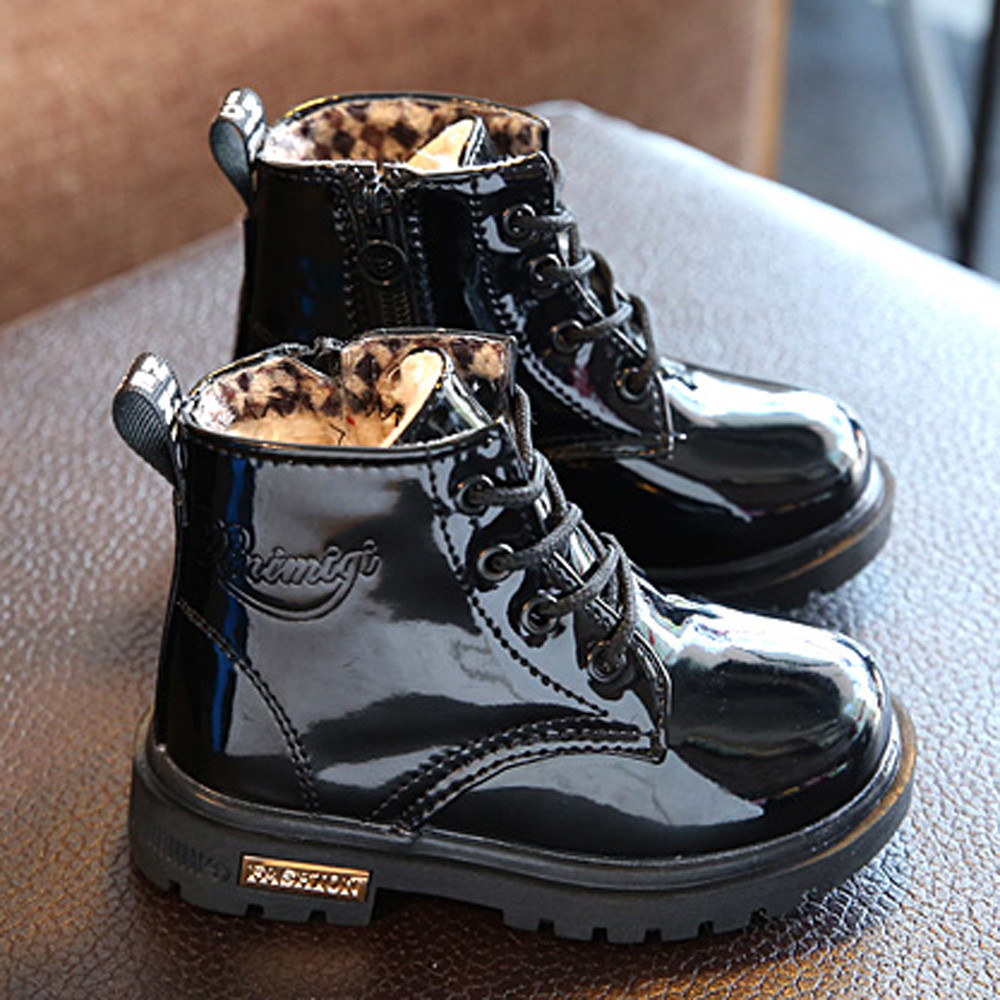 Autumn Winter Kids Shoes Classic Children Boots Baby Boys Girls Shoes Snow Boots PU Leather Rain Boots Flats Sneakers 2019 New