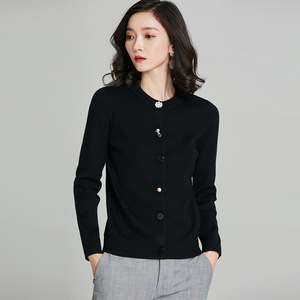 Image 5 - 2018 New Arrival Women Chic Cardigans Pearl Decoration Buttons Knitted Cotton Cashmere Solid Color Wild Slim Jacket kz353