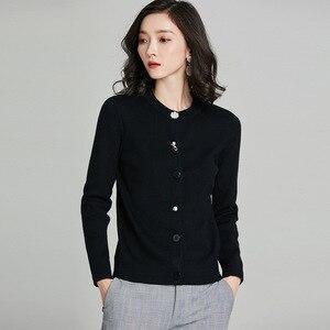 Image 5 - Cardigans chics pour femmes, veste Slim sauvage pour femmes, boutons de décoration, tricot, coton, cachemire, couleur unie, 2018, nouveauté