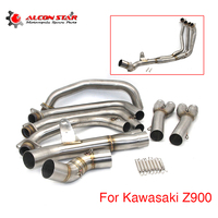 Alconstar Modified Exhaust Full System Tube For Kawasaki Z900 2017 2018 Motorcycle Slip On Exhaust Pipe Muffler With Sensor