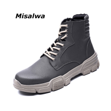 Misalwa Chealsea Boots Men Hot Autumn Winter Men Boots Military British Fashion Ankle Boots Thick Sole Quality Shoe Men Big Size
