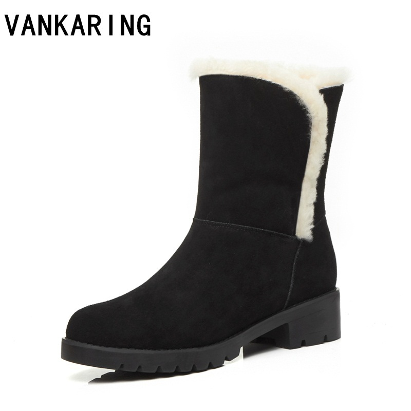 VANKARING fashion snow boots new autumn winter boots women lace-up warm plush ankle boots for women black platform shoes woman